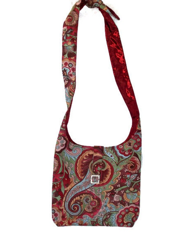 Small Retro Red Green Hobo Bag Purse Funky Psychedelic