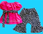 Custom Boutique Clothing Birthday Giraffe Peasant  Capri Set