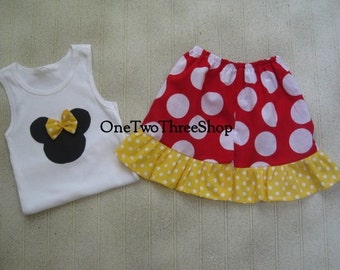 Custom Boutique Minnie Mouse Tank and Skirt Set 12m 18m 2T 3T 4T 5 6 Years