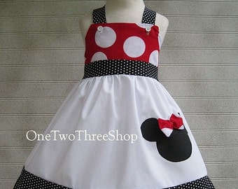 Custom Boutique Minnie Mouse Jumper Dress 12 Months to 6 Year