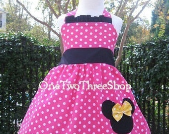 Custom Boutique Minnie Mouse Halter Dress  12 Months to 6 years
