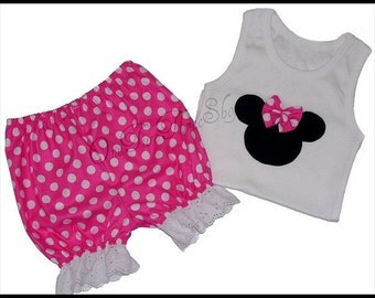 Custom Boutique Clothing Minnie Mouse Disney Tank and Bloomers Set