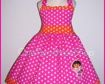 Custom Boutique Dora  Halter Hotpink Dress 12 Months to 6 Years