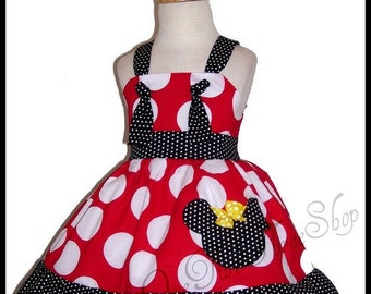 Custom Boutique Clothing Minnie Mouse Tie Knot Jumper Dress