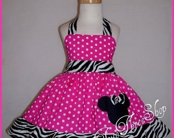 Minnie Mouse Dress Birthday Custom Boutique Children Clothing small zebra