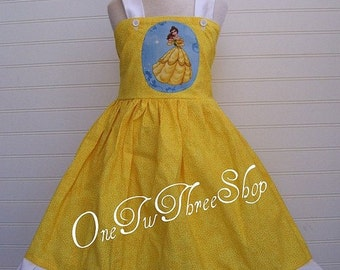 Custom Boutique Disney Belle Inspired Jumper  Dress 12 Months to 6 Years