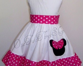 Custom Boutique Clothing Minnie Mouse Small hot pink  Sassy girl Dress