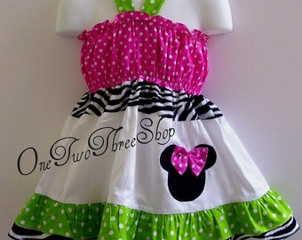 Custom Boutique Clothing Minnie Mouse Sun Halter  Dress