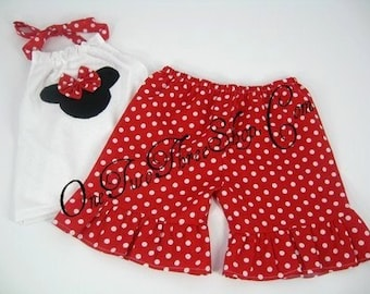 Custom Boutique Minnie Mouse Halter/Short Set 12m 18m 2T 3T 4T 5 6
