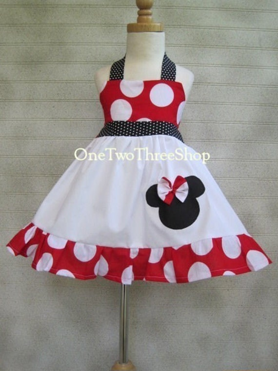 Custom  Boutique Minnie Mouse Jumper Dress  Red Large Polka Dot 12 months to 6 years