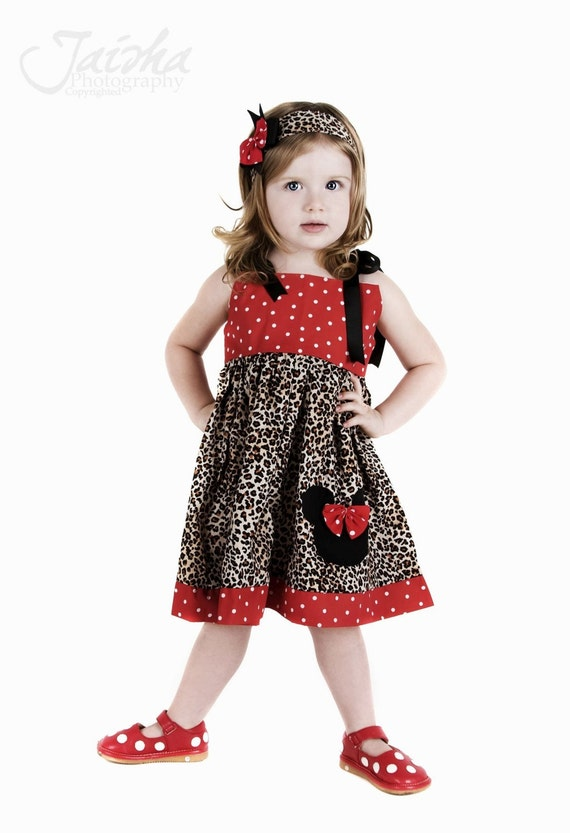 Custom  Boutique Minnie Jumper Dress cheetah Red Dot 12 Months to 6 Years
