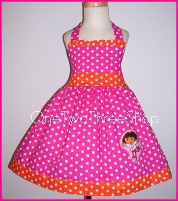 Custom Boutique Dora  Halter Hotpink Dress 12 Months to 6 Years