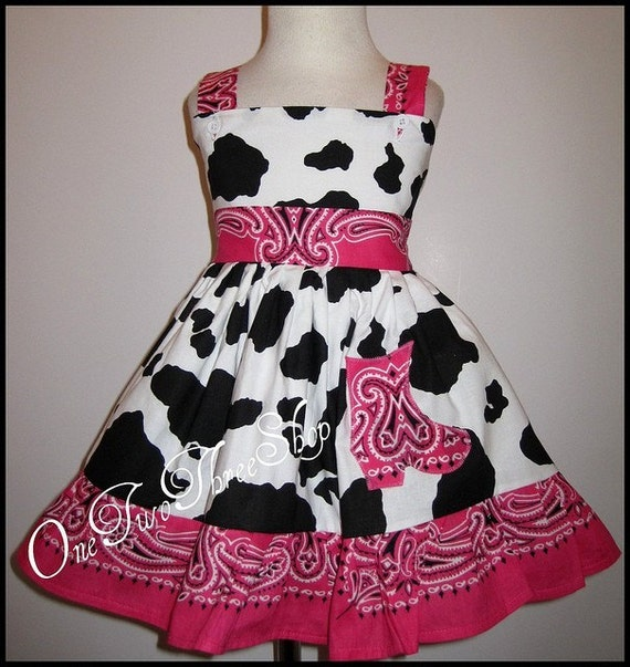 Custom Boutique Western Pageant Hotpink Cowboy Boots Jumper  Dress 12 Months  Special for Denise