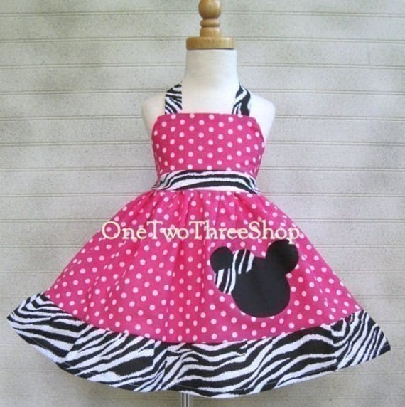 Custom  Boutique Minnie Mouse Halter Dress Hot Pink Polka Dot Sassy 12 months to 6 years