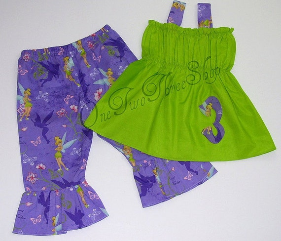 Custom Boutique Clothing Tinkerbell Capri Set
