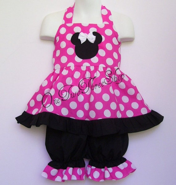 Custom Boutique Clothing  Minnie Mouse Halter Bloomers Set