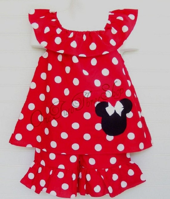Custom Boutique Clothing Minnie Mouse boat neck Short set