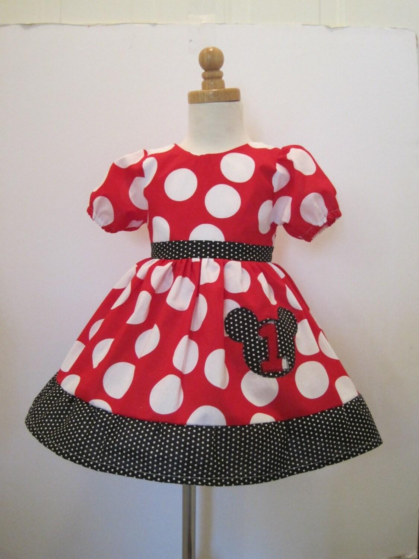 Custom boutique minnie mouse puffy sleeve birthday dress by amacim