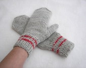 Hand Knit Seamless Mittens with Double RED Line Oatmeal/ Grey