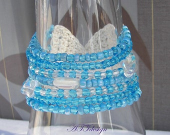 UNIQUE Wrist Cuff CROCHET Beaded Bracelet Czech Glass in Sky Blue