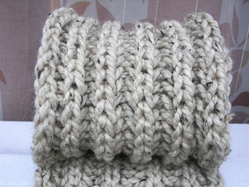 Chunky HAND Knit Wool LONG Scarf Rib pattern Oatmeal by ATIdesign