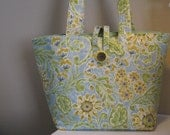 Blue and Yellow Floral Canvas Tote Bag