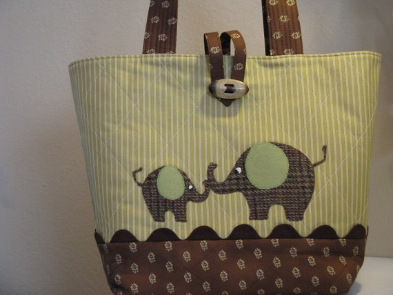 Brown and Green Elephant Diaper Bag