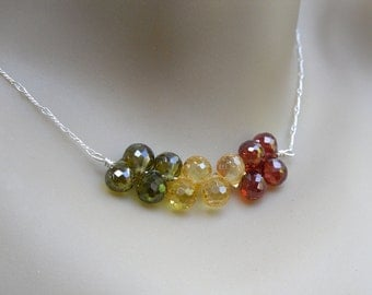 Fall Colors Gemstone Cluster Necklace - olivine green, citrine yellow, carnelian red cubic zironia, sterling silver - free shipping in USA