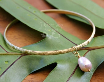 Gold Bamboo bangle with rosaline pink pearl drop - modern Asian elegance - free US shipping