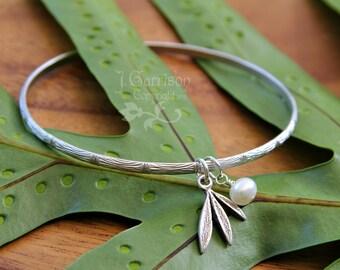 Silver bamboo bangle w/ freshwater pearl & bamboo leaf charm - free shipping USA