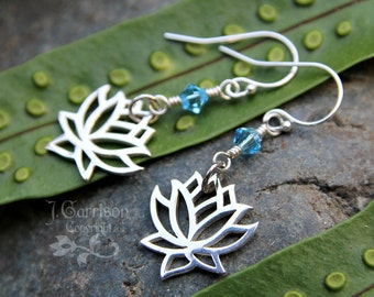 Zen Lotus blossom earrings - sterling silver flower & aquamarine Swarovski crystal - custom color -Peace- meditation- free shipping in USA