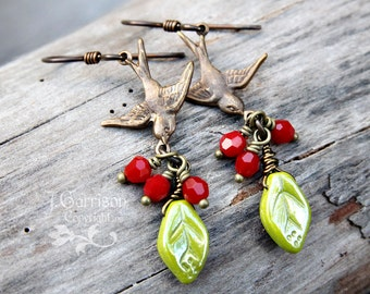 Birds & Cherries Earrings - Antiqued brass, red Swarovski crystals, green leaves - Rustic- Vintage fashion - Retro- free shipping USA