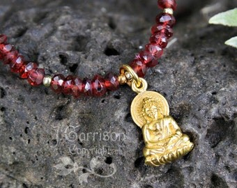 Radiant Buddha Necklace -real Garnet gemstones, 24k gold plated sterling silver buddha charm- Zen - peace heart & soul -free shipping in USA