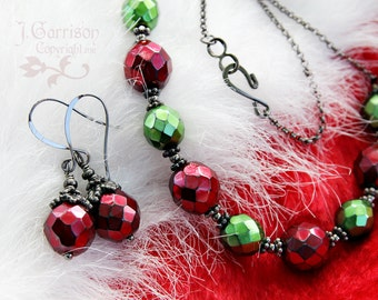 Gothic Christmas Necklace & Earring Set - metallic red and green glass beads, gunmetal black chain - Vintage Holiday Cheer- free shipping