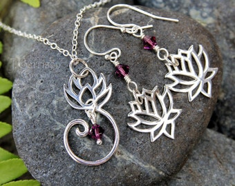 Zen Lotus flower necklace & earring set - sterling silver, amethyst crystal - yoga, meditation - tranquiilty- free shipping USA