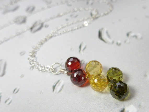 Fall colors vertical gemstone cluster necklace - olive green, citrine yellow, carnelian red cubic zirconia, sterling silver - free shipping