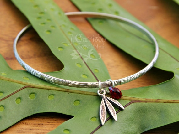 Silver Bamboo bangle w/ ruby red Swarovski crystal drop & bamboo leaf charm - free shipping in USA