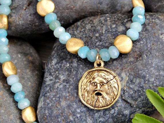 Bocca Della Verita Necklace - Aquamarine gemstones, Gold nuggets, Ancient Roman symbol charm - Free Shipping in USA