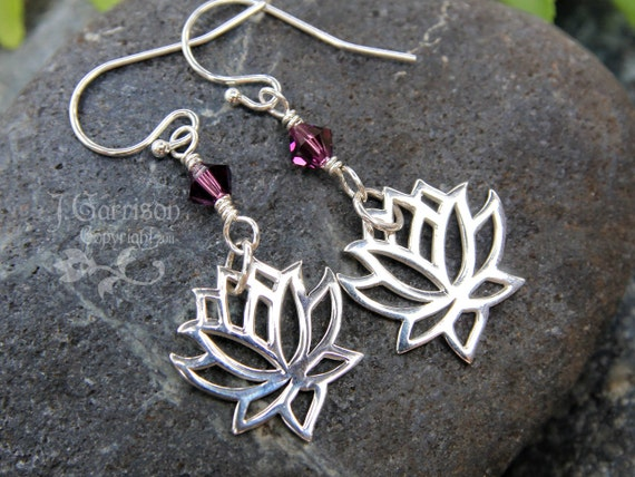 Zen Lotus Blossom earrings - sterling silver flower & amethyst Swarovski crystal - or custom color -Zen- free shipping in USA