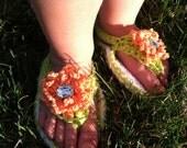 CROCHET PATTERN - baby flower sandal, flip flop, PDF file
