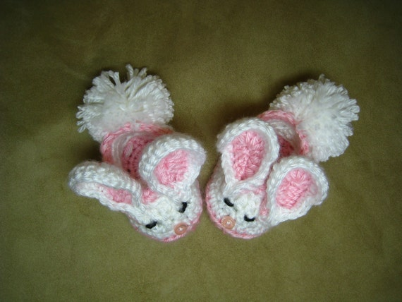 Free Crochet Pattern For Bunny Slippers : CROCHET PATTERN baby bunny slipper bootie shoe PDF format