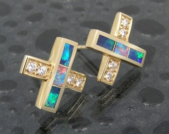 Australian opal earrings in 14k gold with diamond accents