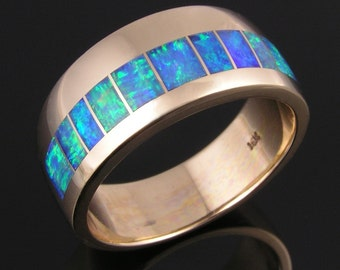 Australian Opal Wedding Ring in 14k gold by Hileman