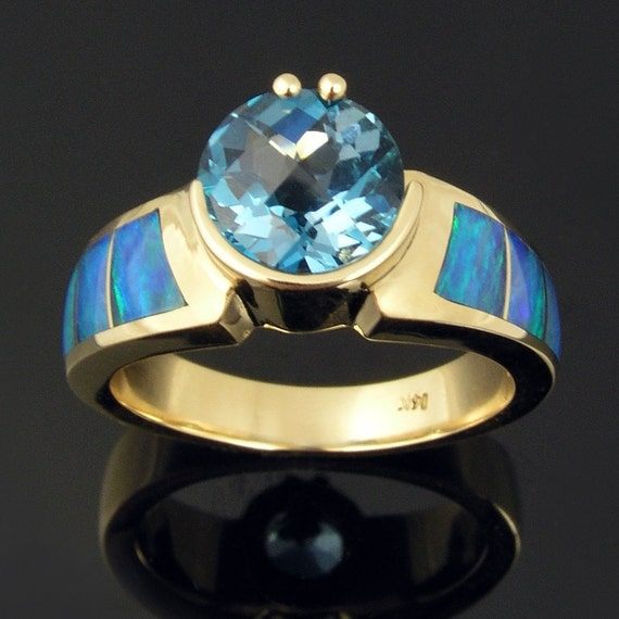 Australian opal ring with blue topaz in 14k gold
