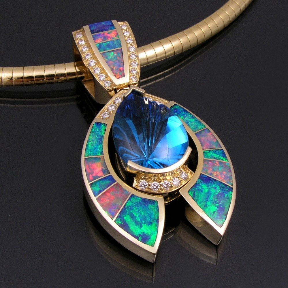 australian opals jewelry australian opal pendant with topaz and accents 9191