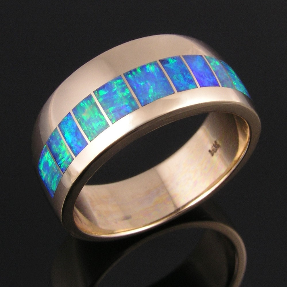 Australian opal wedding ring in 14k gold by hileman for Australian wedding rings