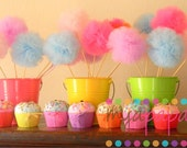 Candyland Birthday-Six Sweet Tutu Puff Wands-You Choose the Colors