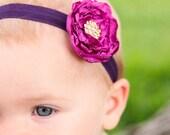 Single Rosette Elastic Headband