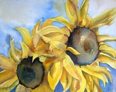 Sunflowers Watercolor Painting Original