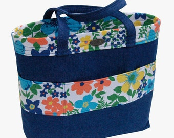 Small tote // denim // floral // upcycled // short straps
